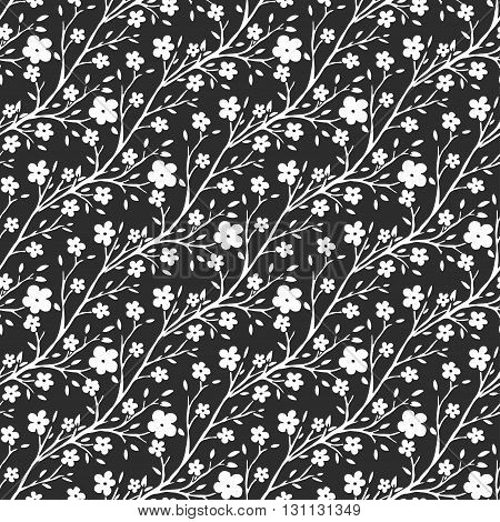 Vector black and white flowers pattern. Seamless pattern for fabric or packaging design. Cherry blossom repeating background for fashion print