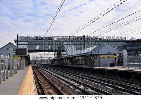 NEWARK, NEW JERSEY, USA - APRIL 25, 2016: Newark Liberty International Airport train station Newark, New Jersey, USA