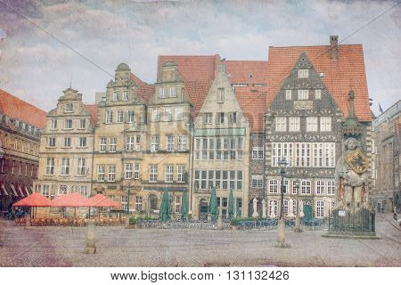 Vintage photo of the city of Bremen. Germany