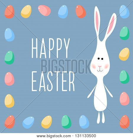 Happy easter card template. Funny cartoon white rabbits and eggs.