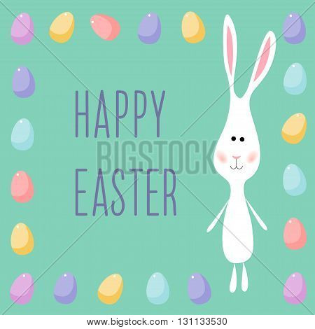 Happy easter card template theme. Funny cartoon white rabbits and eggs.