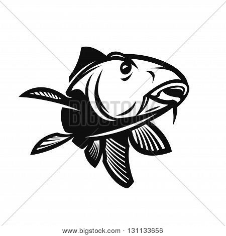 Fishing Club Logo Template. Two Fish and Hook Silhouette Isolated On White Background. Vector object for Labels Badges Logos. Fish Logo Fisher Logo Fish Silhouette Hook Silhouette.