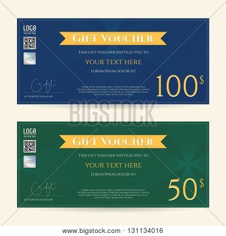 Gift certificate, gift voucher template in vector