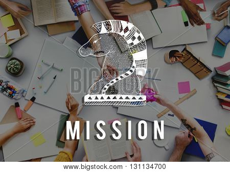 Mission Aim Aspiration Core Values Inspiration Concept