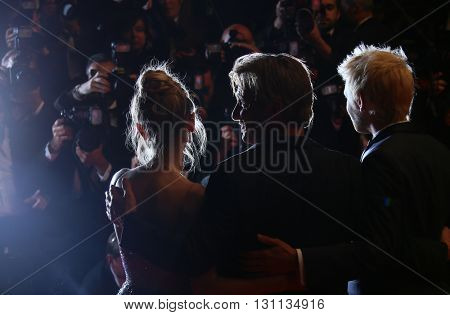 Director Sean Penn, his son Hopper Penn and daughter, Dylan Penn   attend 'The Last Face' Premiere during the 69th Cannes Film Festival at the Palais on May 20, 2016 in Cannes, France.