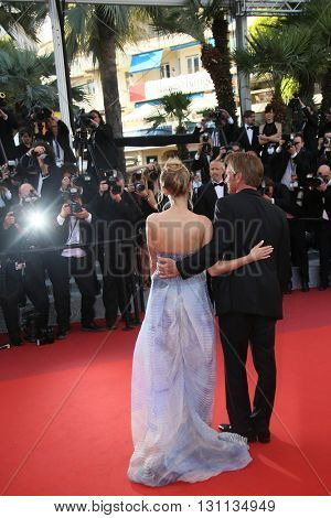Director Sean Penn and daughter, Dylan Penn   attend 'The Last Face' Premiere during the 69th Cannes Film Festival at the Palais on May 20, 2016 in Cannes, France.