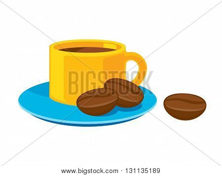 Coffee cup with beans icon colorful vector illustration.