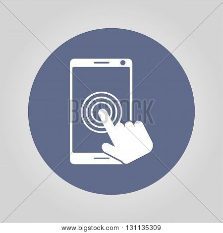 Touch screen smartphone icon. Flat design style