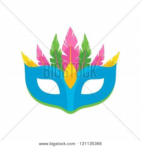 Colorful carnival mask with feathers icon vector illustration. Masquerade party symbol.