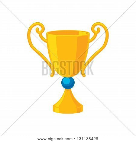Sport trophy golden cup icon vector illustration. Winner champion award prize symbol.