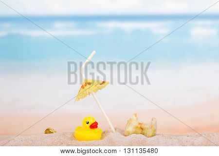Foods, household waste and a rubber duck in the sand against the sea.