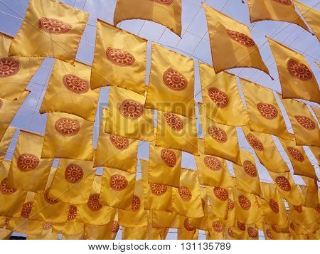 Flags of Dhammajak symbol of Buddhism asia