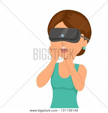 Girl was surprised from seen in a virtual reality helmet. Modern technologies of entertainment, communication and video games. Isolated vector illustration.