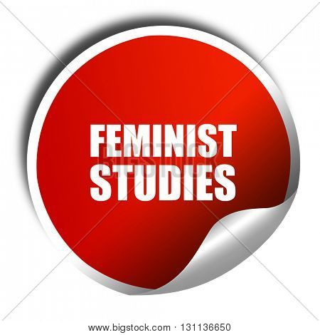feminist studies, 3D rendering, red sticker with white text