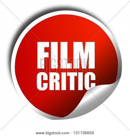 film critic, 3D rendering, red sticker with white text