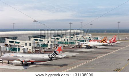 Kuala Lumpur, Malaysia - 3 May, 2016: Planes ready for boarding at International Airport KLIA