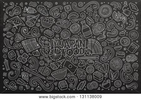 Line art chalkboard vector hand drawn doodle cartoon set of Japan cuisine objects and symbols