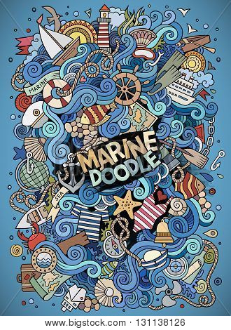 Cartoon hand-drawn doodles nautical, marine illustration. Colorful detailed, with lots of objects vector background
