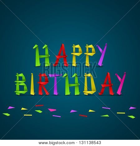 Birthday cards from folded colored letters vector eps 10