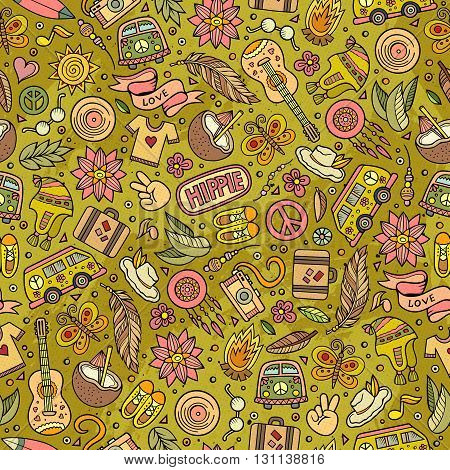 Cartoon hand-drawn hippie doodles seamless pattern. Colorful detailed, with lots of objects vector background