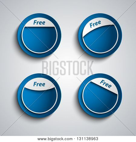 Blue design label sticker with the inscription free vector eps 10