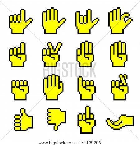 Pixelated Hand Gestures Cursors. Vector Illustration Of Pixelated Hand Gestures.