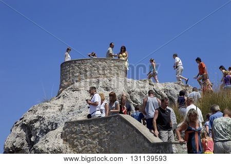 MAIORCA, SPAIN - MARCH 13: people at the Cabo Formentor, on March 13, 2016 in Palma de Maiorca, Maiorca Island, Spain
