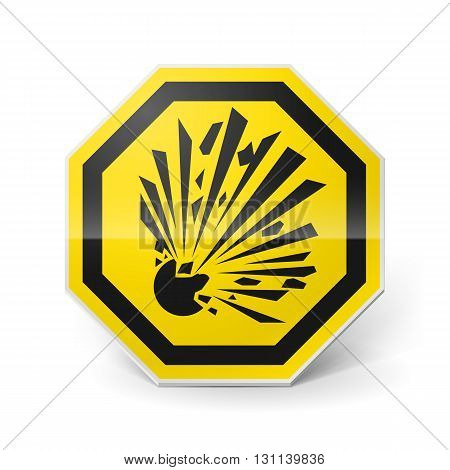 Shiny metal warning sign of explosion on white background