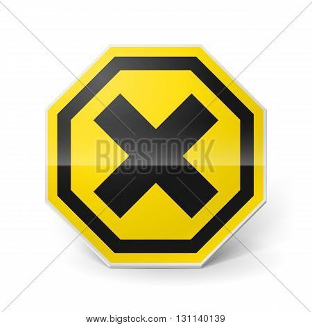 Noxious and irritating metal warning sign on white background