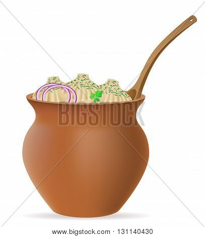 Dumplings Khinkali Of Dough With A Filling And Greens In Clay Pot Vector Illustration