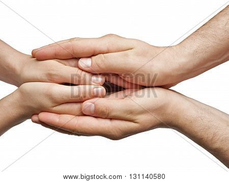 male and female hands connected with one another on a white isolated background