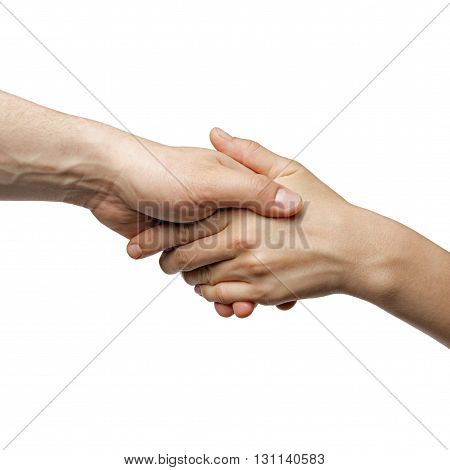 male and female hand united handshake on isolated white background