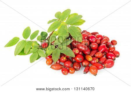 Fresh rose hips with green leaves isolated on white background.