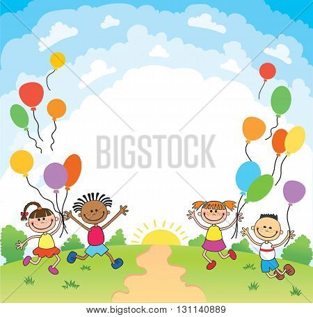 children are jumping ob summer background bunner cartoon funny Ready for your message vector character. illustration