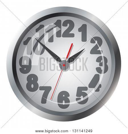 Wall mounted clock. Vector illustration.