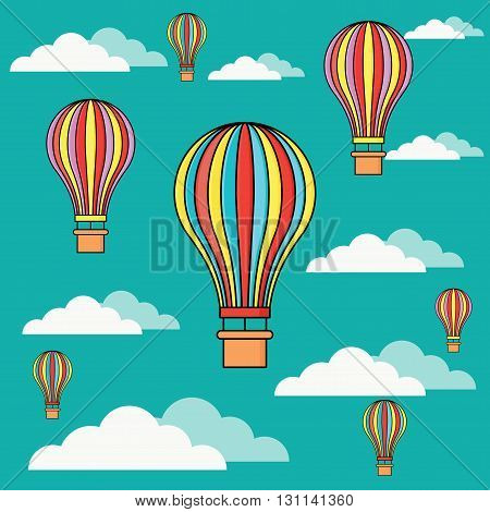 Hot air balloons in the sky flat vector illustration