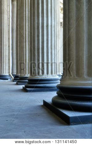 Closeup of the Kazan Cathedral colonnade in Saint-Petersburg Russia. Soft focus processing