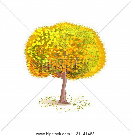 Isolated autumn tree on a white background. Deciduous tree with yellow leaves. Fallen leaves around the tree. Cartoon style. Vector illustration.