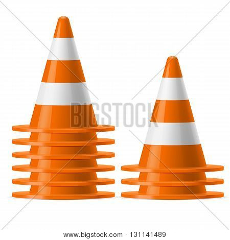 Two piles of white and orange traffic cones. Safety sign used to prevent accidents during road construction