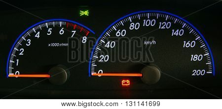 Modern car illuminated dashboard closeup, Car, Dashboard, Panel,