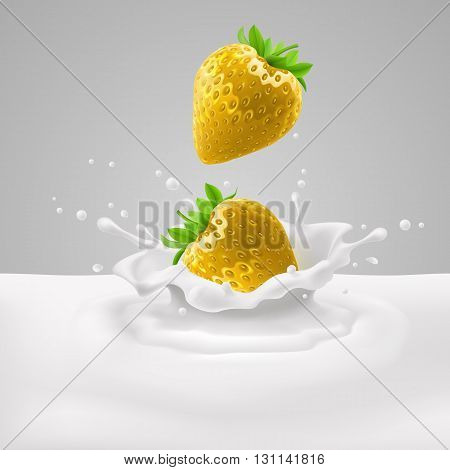 Yellow strawberries with green leaves falling into milk with splashes