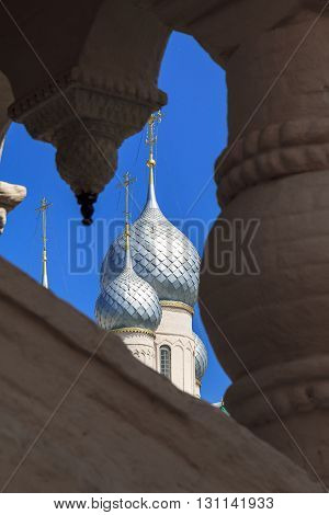 There are domes and crosses of Russian Orthodox church.