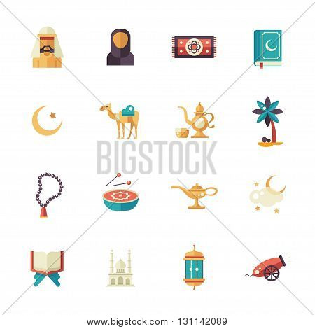 Set of modern vector flat design isolated icons of islamic holiday, culture. Muslim male, female, camel, cannon, mosque, prayer beads, lamp, drum