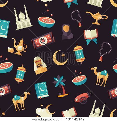 Set of modern vector flat design seamless tileable pattern with icons of islamic holiday, culture. Muslim male, female, camel, cannon, mosque, prayer beads, lamp, drum