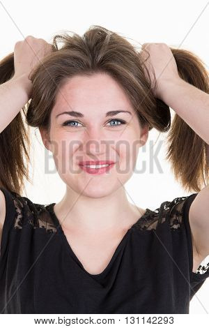 Image Of Perfect Young Woman Having Fun With Her Hair