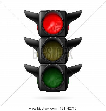 Realistic traffic lights with red color on. Illustration on white background