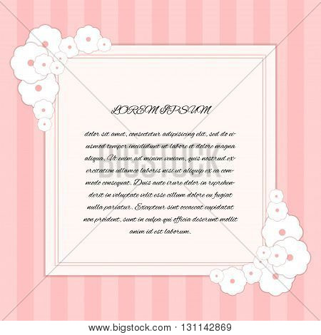 Floral Card Template. Spring, Romantic And Love Theme.