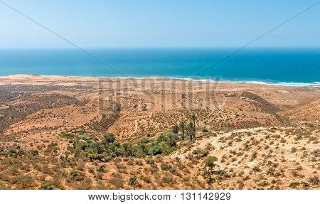 Landscape in North Africa on a hot sunny day. Ocean view