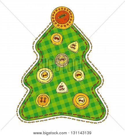 Christmas Tree in Patchwork Style. Isolated on a White Background