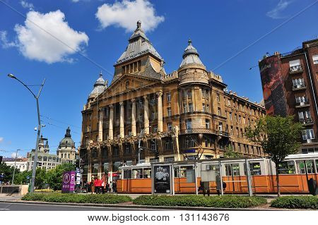 BUDAPEST HUNGARY - MAY 16: View of the Az Anker building in centre of Budapest on May 16 2016. Anker is the first block of flats in Budapest city Hungary.